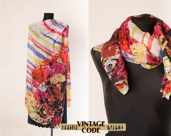 Large sheer Silk scarf shawl  Roses scarf / Silk scarf shawl  with Roses / Airy  Vibrant colorful Roses scarf long Shawl