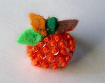 Beaded Felt Halloween Pumpkin Plush Adjustable Ring