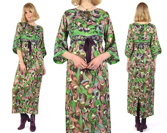 Vtg 60s Psychedelic Silk Maxi Dress M