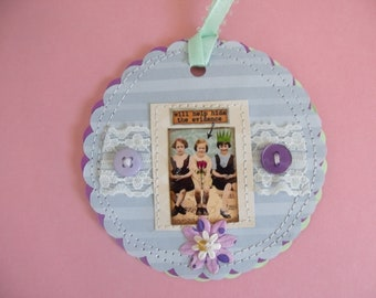 "She ""Will Help Hide the Evidence"" mixed media Tag/Gift Tag/Scrapbook/Card"
