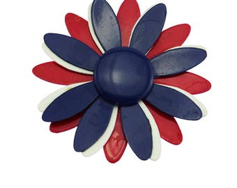 Vintage Red White Blue Enamel Flower Brooch, Red Enamel Flower Brooch, Large Red Flower Brooch, Red Enamel Flower Pin