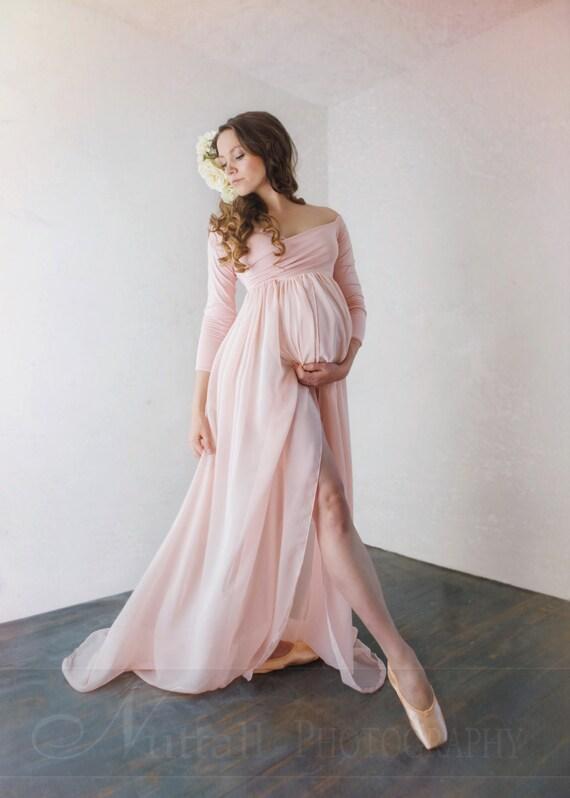 Mutterschaft Kleid • Patricia Gown • Langarm Mutterschaft Kleid • schiere  Umstandskleid • Sweetheart Mutterschaft Kleid • Empire Taille ...