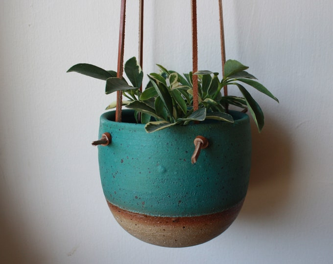 Small Hanging Planter - Turquoise - Leather and Ceramic - Brown Knotted Leather - Handmade - KJ Pottery