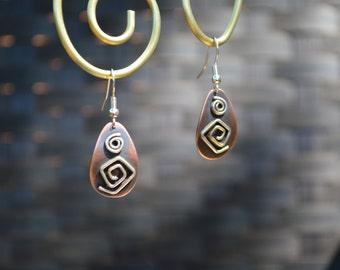 Norway Spiral Sterling Silver on Copper Earrings