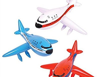 3 Pc Set 24 Inch Inflatable Airplanes - You Get One Of Each Color! Adorable Flying Theme Baby Shower & 1st Birthday Decorations!