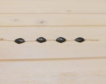 Genuine Stingray leather Bracelet 925 silver