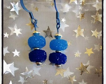 Got the Blues? Super Blue ColorSparx Earrings--Faceted Acrylic in Two Shades of Blue, Sterling Silver and Blue Metal Findings -- Handcrafted