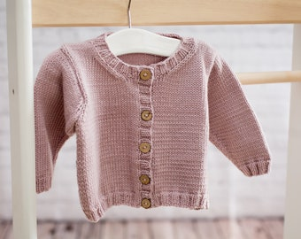 Luxury Hand Knit Baby Cardigan - Round-Neck  - Soft Lilac, 0-6 months - Merino/Cashmere blend yarn, handmade baby clothes