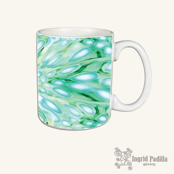 Imagine Blue, Mug, Turquoise Mug, Unique Coffee Mug, Funky coffee cup, Abstract mug, Art on coffee cup, mug art, Ingrid Padilla