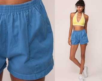 80s Shorts Jogging Shorts Running High Waisted Blue Retro COTTON Vintage 1980s Elastic Waist Hipster Extra Small xs