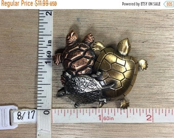 10%OFF3DAYSALE Vintage Brass Pewter Copper Toned Pin Brooch Three Turtles Used