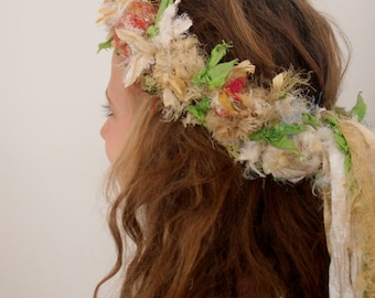recycled silk boho chic  tattered rose wreath fairy princess silk flower crown by plumfish neutrals