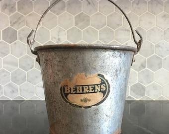 Vintage Metal Ware Behrens Berry Pail Bucket