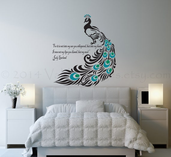 Delicieux Peacock Wall Decal, Bird Wall Decal, Bedroom Wall Decal, Living Room Wall  Decal, Love Wall Decal, Quote Wall Decal, Peacock Wall Art
