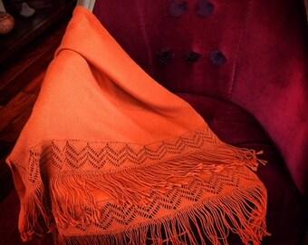 Baby alpaca sunset orange wool macrame shawl
