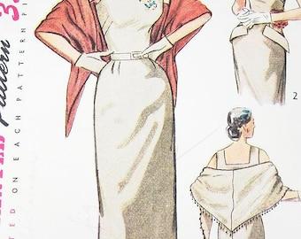 "Misses' One-Piece Tank Dress, Bolero & Stole - SZ 12/Bust 30"" - Vintage 1950s Dress Sewing Pattern - Simplicity 3546"