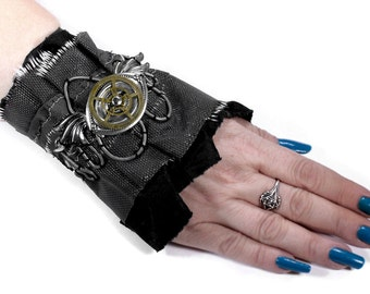 Steampunk Cuff Black Leather MESH ESCUTCHEON Silver WiNGS Gears INDuStrial Mens Rocker PuNk Burning Man Cuff - Steampunk Cuffs by edmdesigns