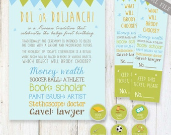 Green and Blue Doljabi birthday printable SET- Korean Dol sign, party Raffle tickets, Doljabi Tags - DIGITAL files only!