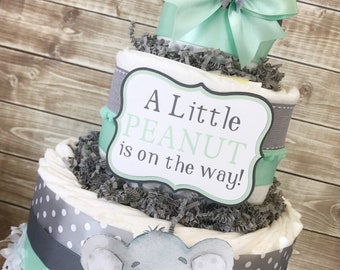 Little Peanut Diaper Cake in Mint and Gray, Elephant Baby Shower Centerpiece, Little Peanut Baby Shower Decorations