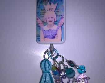 Bossy Fairy Altered Domino keyring, bag charm, key charm, dangle