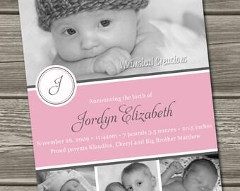 Sweet Baby Girl Birth Announcement (Digital File) Jordyn - I Design, You Print
