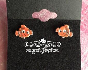 Finding Nemo earrings - Finding Nemo Stud Earrings - Nemo Earring Posts - Fish Earrings - Nemo Dangle Earrings - Nemo Studs