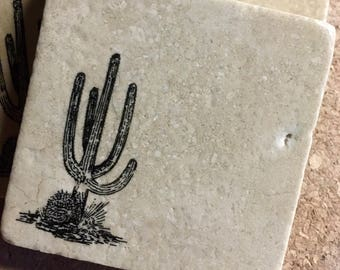 Cactus Coasters ~ Set of 4 Stone Coasters ~ Stamped Coasters~ Stone Tile Coasters ~ Set of 4 Coasters