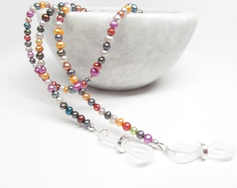 Freshwater Pearl Eyeglass Chain in Jewel Tones, Reading Glasses Necklace, Eyeglass Holder, Real Pearl Eye Glass Chain, Eyeglass Leash