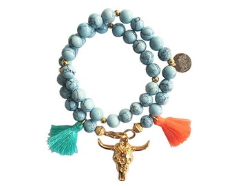hippie bracelet blue boho bohemian peace pear warpbracelet hippiejewellry gypsy armcandy festival naturalstonebeads bull