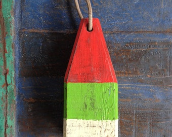 """Coastal Decor, 11"""" Lobster Buoy Red, Green, White, Nautical Wooden by SEASTYLE"""