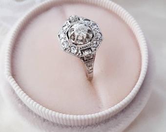 Antique engagement ring, Antique diamond ring, Art Deco engagement ring, Vintage engagement ring, Vintage diamond ring