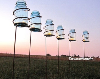 Garden Stake Mason Jar Outdoor Candle Holders, Solar Light Stakes Tall Decorative Wedding Lighting, Metal Mason Jar Lantern Patio Stake