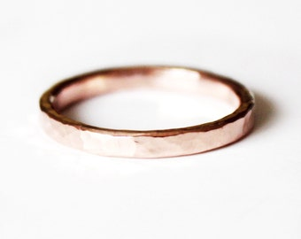 Ring - 14K Rose Goldfill Ring - Thin Hammered Pink Gold Band - Stacker Ring - Unisex - Wedding Band - Promise Ring