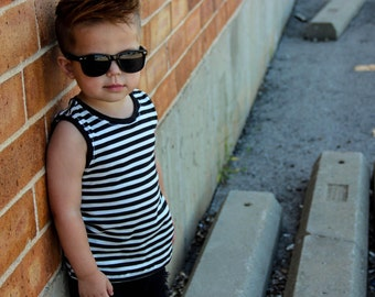 Black and White Stripe Organic Knit Tank Top