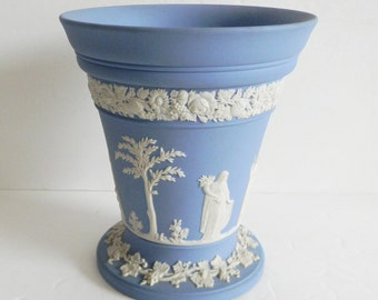 Wedgwood blue jasperware trumpet vase with Grecian scenes in white - marked