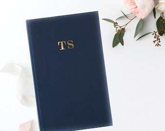 Personalized Linen Hardcover Journal + Notebook   Monogramed Journal   Personalized Journal   Initials   Custom Journal   Rose Gold Foil