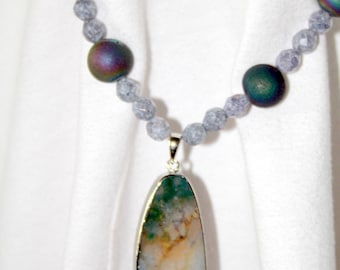 Ocean Jasper Pendant with Druzy and Czech Glass Beads Necklace