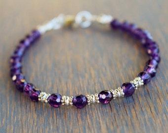 Amethyst Beaded Bracelet, Amethyst Gemstone Bracelet, February Birthstone, Boho Chic Gemstone Bracelet, Friendship Bracelet, Gift For Her