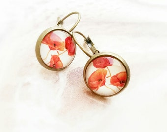 Red poppy earrings,Glass cabochon earrings,Red poppy glass cabochon earrings,Cabochon earrings,Poppy drop earrings,Poppy jewelry,Red poppies