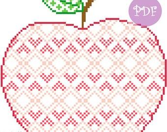 Patterned Apple cross stitch chart digital pdf pattern autumn seasonal harvest thanksgiving patterned cross stitch modern