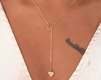 silver or gold necklace adjustable necklace heart drop loop threw necklace latest trend necklace