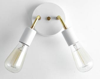 Wall Sconce - White Brass Sconce Light - Edison Bulb Light - Mid Century Modern Lamps - Plug in Sconce
