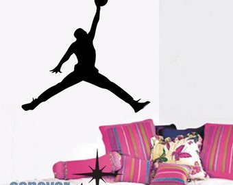 COOL Basketball JumpMan Personalized Name----art Graphic Vinyl wall decals stickers home decor
