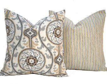 Two Grey and Yellow pillow covers,  Home decor, decorative pillow, Fall pillow, Medallion pillow, Striped pillow, Grey Pillow