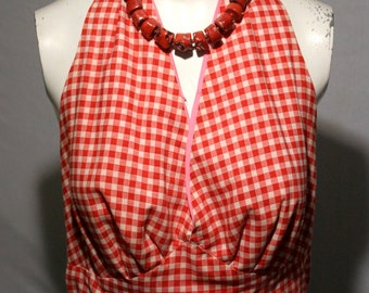50's Red and white cropped gingham pin-up girl halter top - women's M/L