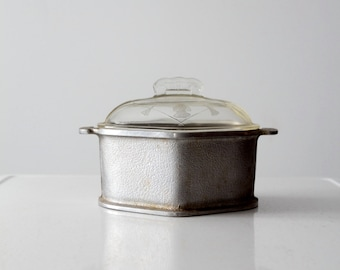 Guardian service cookware with glass lid, mid-century hammered aluminum kitchen pot