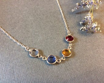 Mom, Grandma, Best Friend, Sisters, Brides Maid, Children, Family Simple Connected Birthstone Charm Necklace Great Mother's Day Gift!