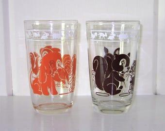 Set of 2 Vintage Kraft Swanky Swig Juice Glasses - Dog/Rooster and Squirrel/Deer - Orange and Brown