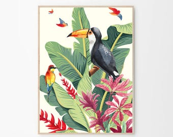 Tropical Print,Tropical Illustration,Toucan Print,Tropical Birds,Birds Print,Toucan Decor,Tropical Wall Art,Prints,Ilustrattion Tropical,Arr