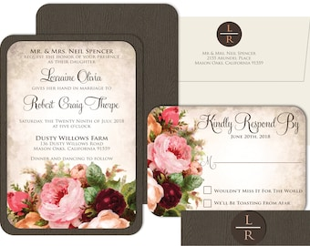Antique Floral Wedding Invite Set